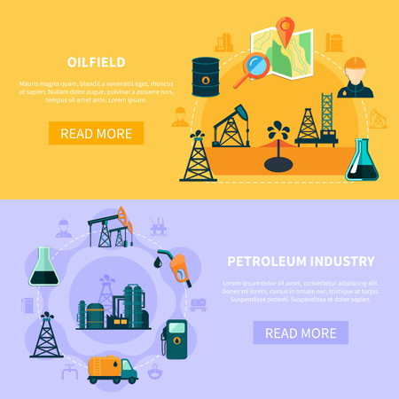 Set of two oil industry horizontal banners with flat image compositions text and read more button vector illustration Illustration