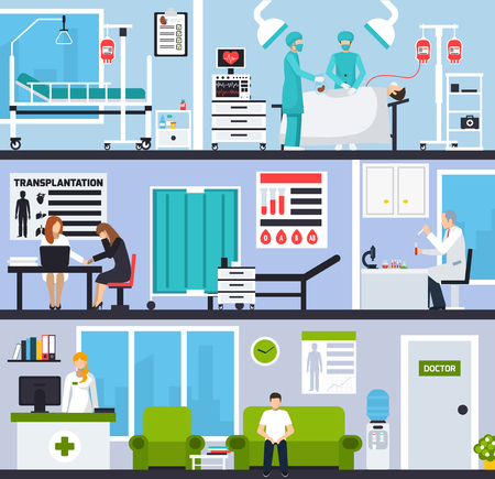 Transplantation horizontal compositions with patients and doctors in hospital interiors and operating room flat vector illustration Illustration