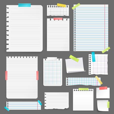 De realistische lege document bladen op verschillende grootte en de vorm plakten met kleurrijke band op grijze achtergrond geïsoleerde vectorillustratie