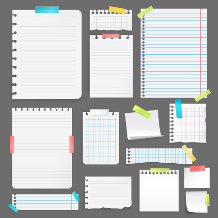 Las hojas de papel en blanco realistas en diverso tamaño y forma pegaron con la cinta colorida en el ejemplo aislado del vector del fondo gris Foto de archivo - 79225904