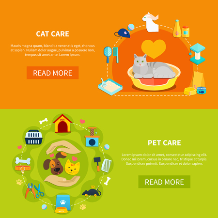 Bright horizontal banners with various accessories for pet care at home flat isolated vector illustration Illustration