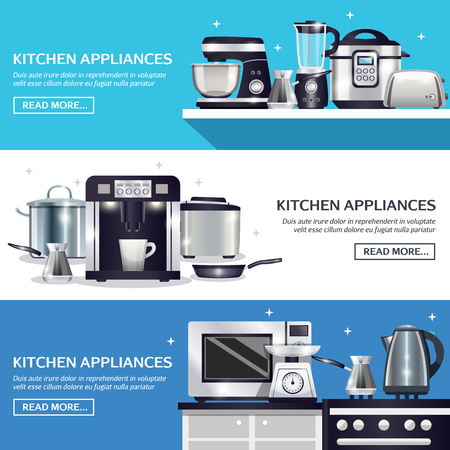 Kitchenware set of horizontal banners with pans, microwave, food processor, blender, toaster, slow cooker isolated vector illustration Illustration