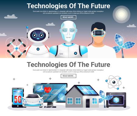 エコハウス、電気自動車、ロボット、人工光合成、無人偵察機分離ベクトル図で水平方向のバナーを将来の技術