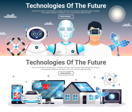 Technologies of future horizontal banners with eco house, electric car, robots, artificial photosynthesis, drones isolated vector illustration