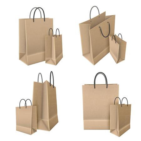 ensemble de sacs à provisions de papier d & # 39 ; artisanat avec des poignées sur fond blanc isolé design 3d illustration vectorielle