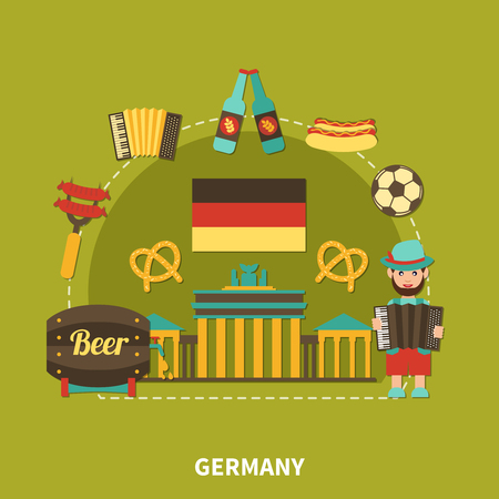 Travel composition with flat images of branderburg gate barrel of beer with traditional german food and drinks vector illustration Illustration