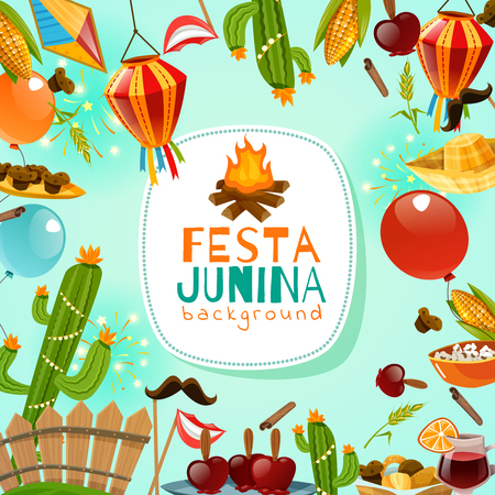 Festa junina cartoon background with decorative frame consisting of traditional celebration symbols flat vector illustration Illusztráció