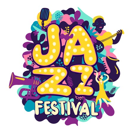 Colorful jazz festival composition with musicians and musical instruments on white background flat vector illustration
