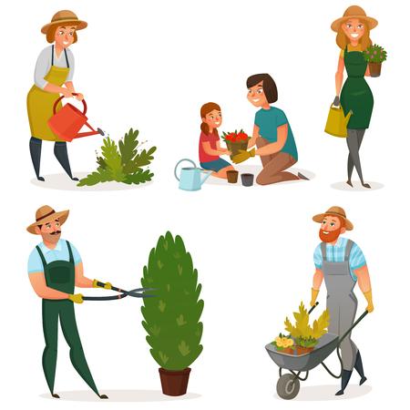 Colored gardening hobby icon set men women and children work in the garden vector illustration