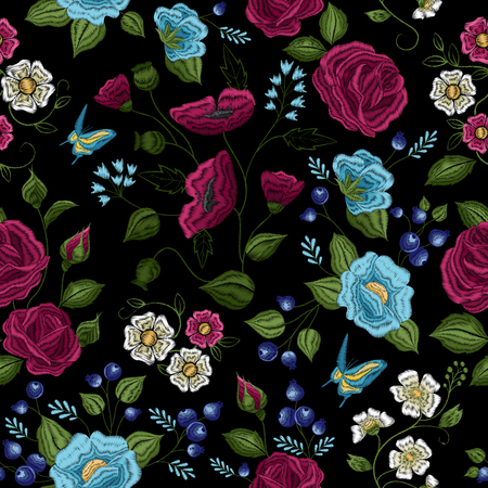 Traditional floral folk style embroidery seamless pattern design in purple green white blue on black background vector illustration