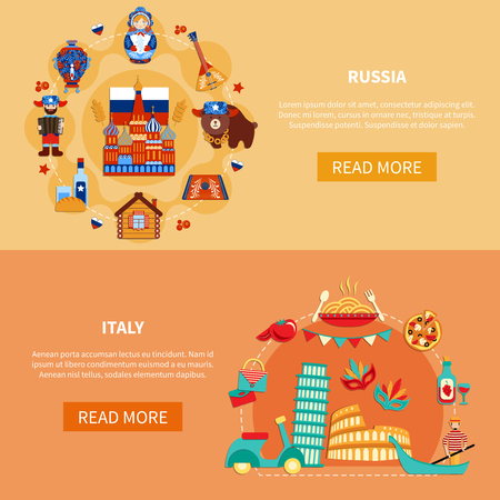 Travel banners with flat image compositions of russian and italian sights and food with read more button vector illustration