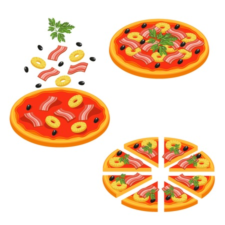 Colored pizza sliced isometric icon set with stages of pizza making step by step vector illustration