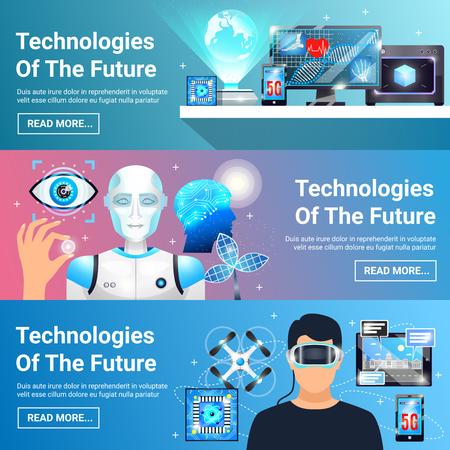 Reeks horizontale banners met toekomstige technologieën met inbegrip van virtuele werkelijkheidshoofdtelefoon, robot, digitale geneeskunde geïsoleerde vectorillustratie