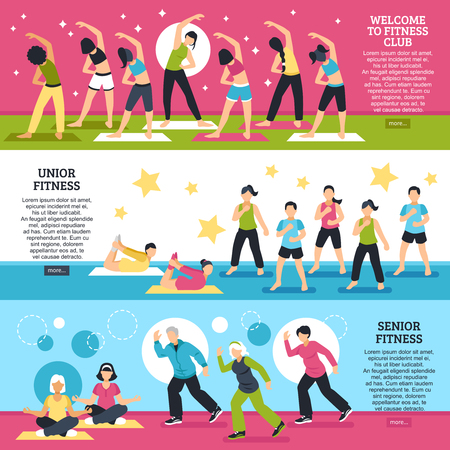 aerobics class: Horizontal banners set with fitness classes for junior and senior persons with yoga elements isolated vector illustration