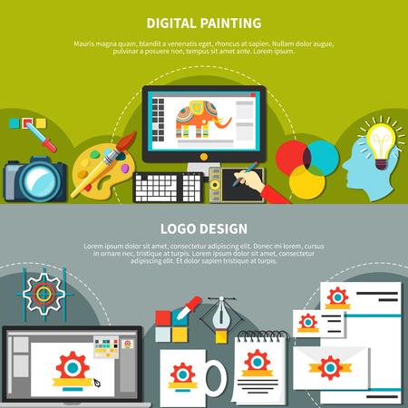 deux outils de conception designer horizontales fixés avec la peinture numérique et des titres de conception illustration vectorielle