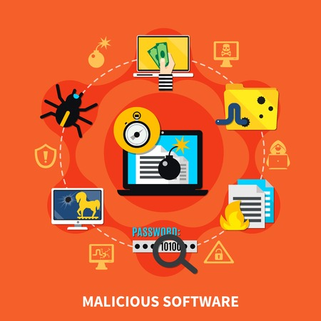 Malicious software flat design concept with hacking computer screen in centre and firewall virus bug trojan horse signs around cartoon  vector illustration Illustration