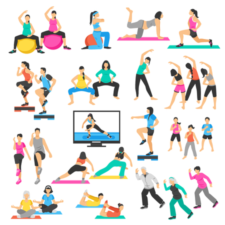 aerobics class: Set of people doing yoga, gymnastics, aerobics including pregnant women, seniors, instructor and group isolated vector illustration