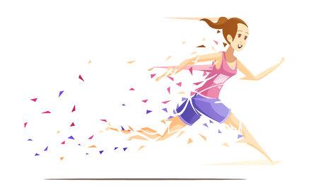 Samenstelling van het de actie retro beeldverhaal van de agentvrouw met het runnen van meisjesatleet die aan stukken van plonsdocument vectorillustratie vallen