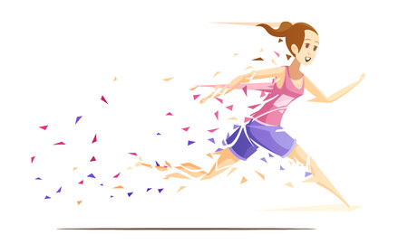 Runner woman action retro cartoon composition with running girl athlete falling to pieces of splash paper vector illustration