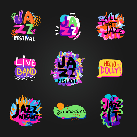 lonely person: Colorful flat set of bright jazz festival themes isolated on blackboard background vector illustration