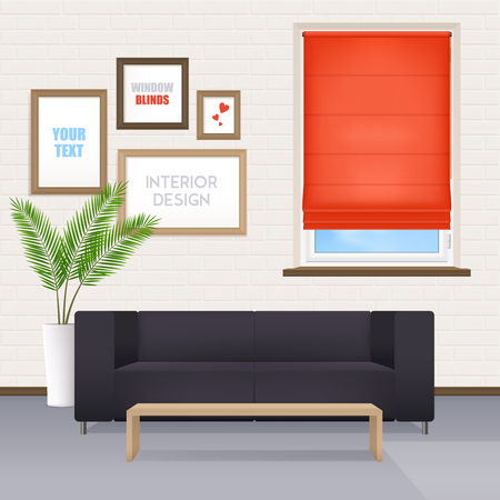 Office room interior with furniture posters for your text on wall and window closed by red roller shutter realistic vector illustration.