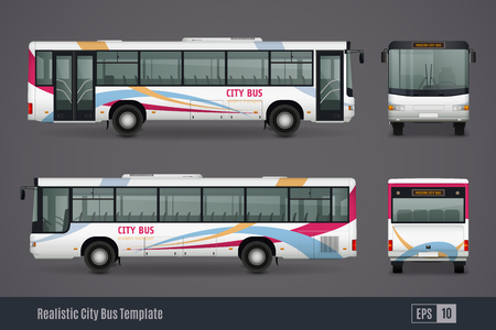 City bus colored realistic images from frontal back right and left sides isolated on grey background vector illustration Çizim