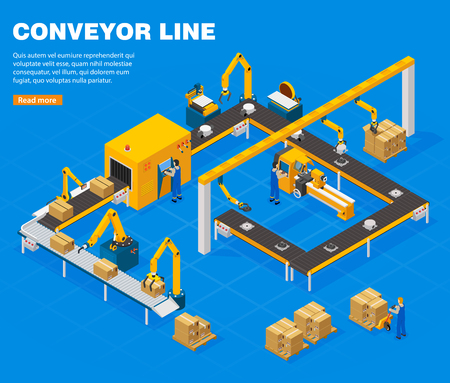Conveyor line isometric concept with technology symbols on blue background vector illustration.