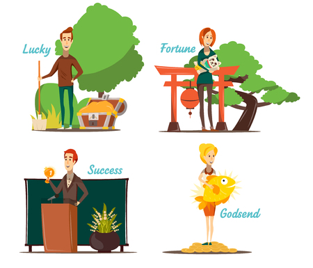 Lucky situations compositions set of four isolated images with flat human character and appropriate outdoor scenery vector illustration, Çizim