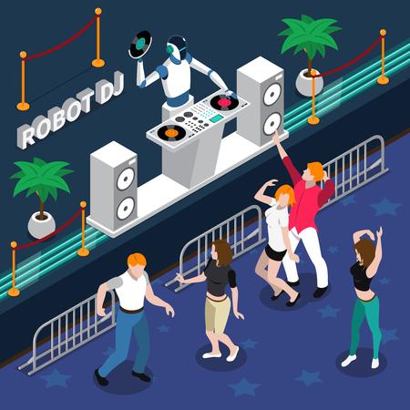 3d professioni 3d concetto di design con robot DJ e giovani ballare le persone al night romantico romantico illustrazione vettoriale Archivio Fotografico - 79270178