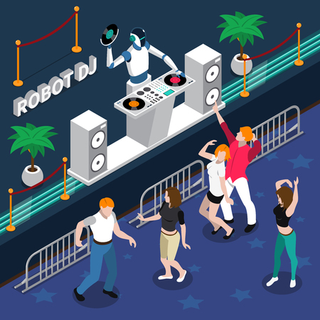 Robot professions 3d design concept with robot dj and young dancing people at night party isometric vector illustration.