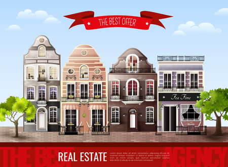 Advertising poster with street from old european houses and green trees on blue sky background vector illustration