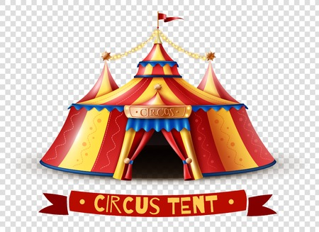 Classic red yellow travel circus tent on transparent background with decorative ribbon signboard isolated vector illustration