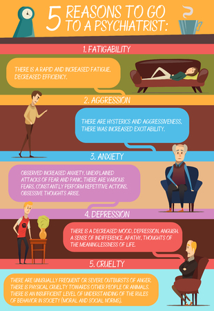 Infographics in flat style with reasons of visit to psychologist and persons with similar problems vector illustration Illustration
