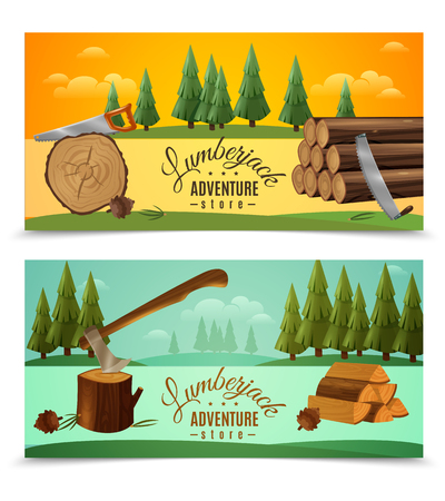 Lumberjack woodcutter outdoor adventures 2 banners set with ax saw and fairytale woodland background isolated vector illustration