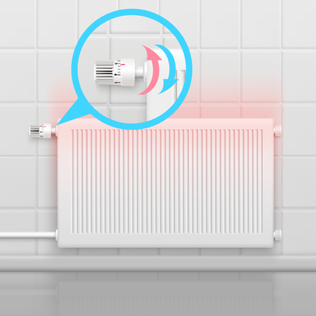 Radiator conceptual composition with flat image of heater battery and zoomed-in view of rotational water temperature regulator vector illustration
