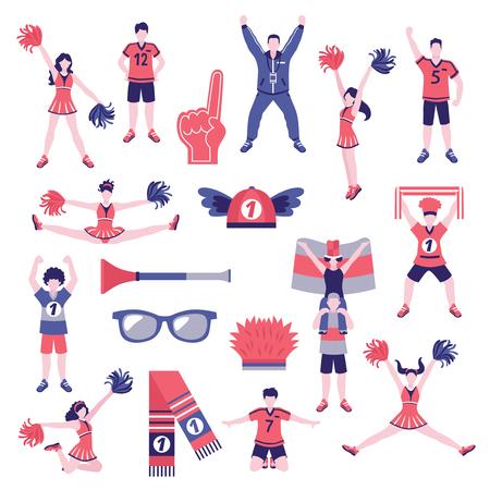 Sportclub fans buffs cheerleaders supporters outfits kleding en accessoires platte pictogrammen collectie geïsoleerd vectorillustratie. Stock Illustratie