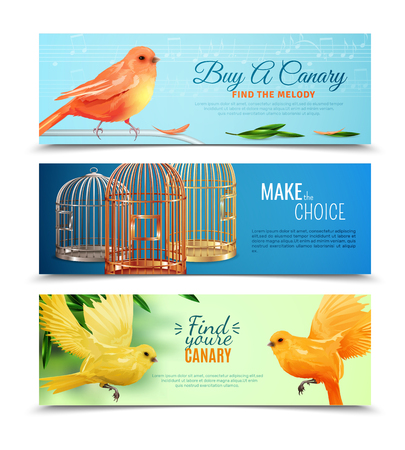 Set of horizontal banners with choice of canary with melody and type of birdcages isolated vector illustration Иллюстрация