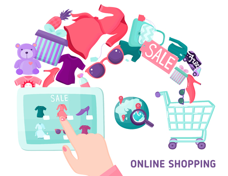 geolocation: Online shopping composition with hand drawn style tablet geolocation shopping cart basket and goods for sale vector illustration