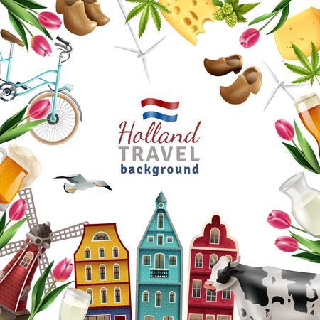 Holanda viajes culturales y turismo símbolos marco fondo cartel con tulipanes madera zuecos y molinos de viento ilustración vectorial