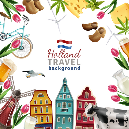 Holland travel cultural and sightseeing  symbols frame background poster with tulips wooden clogs and windmills vector illustration
