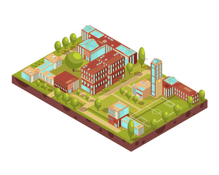 green buildings: Complex of modern university buildings isometric layout with football field green trees walkways and benches vector illustration