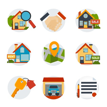 Real estate icons set with house and purchase symbols flat isolated vector illustration.