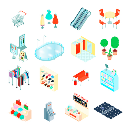 Shopping mall elements isometric icons set with footwear clothing department fastfood and escalator isolated vector illustration