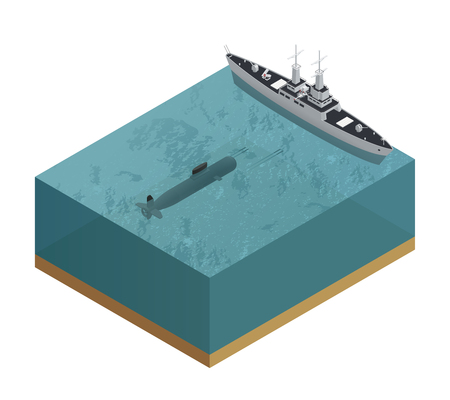 Isometric 3d military boats composition with cut piece of sea with a submarine and a boat vector illustration