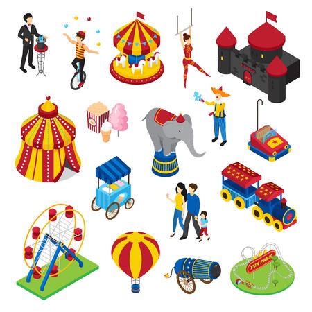 Parque de atracciones isométrico conjunto con artistas de circo, atracciones, casa de horror, comida de calle, globo, los visitantes aislados ilustración vectorial