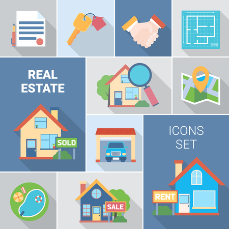 Real estate and agency icons set with buying symbols flat isolated vector illustration Stock Vector - 79275237