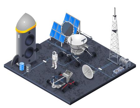 スペース太陽エネルギーとロケット シンボル ベクトル図と等尺性概念