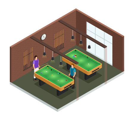 Colored 3d isometric game club interior composition room with pool table and players vector illustration Иллюстрация