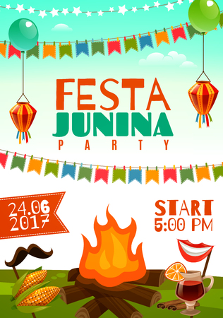 Festa junina poster with holiday decorations corn on cobs glass of red wine and fire on meadow flat vector illustration