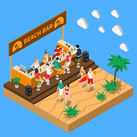 Beach bar in southern country isometric composition with bartenders at bar counter and  resting people vector illustration 向量圖像